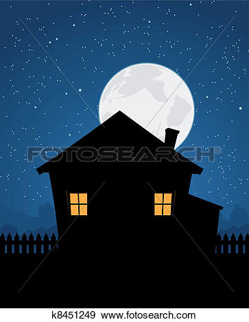 Clip Art of Sleeping room window at night k15500559.