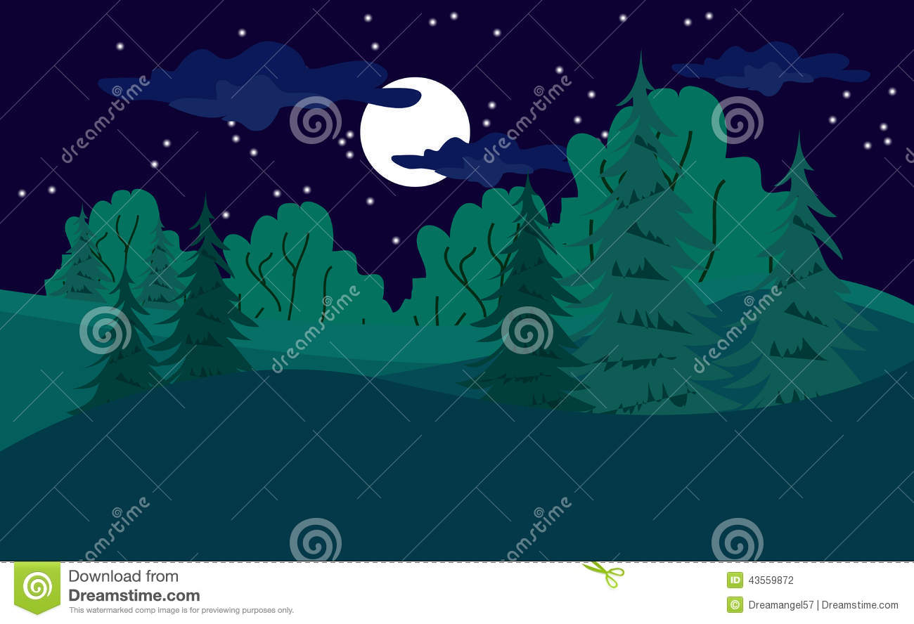 Forest at Night Clip Art.