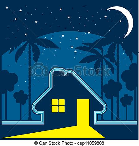 Vector Clipart of House at night.