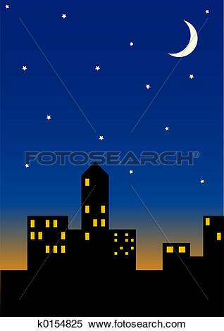 Stock Illustration of Cityscape at night k0154825.