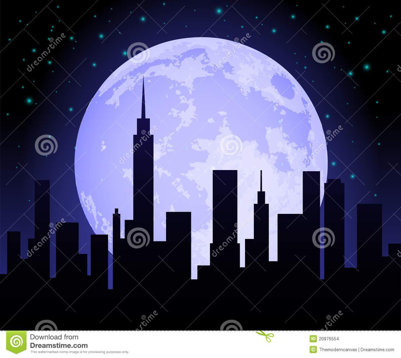 Park City At Night Clipart.