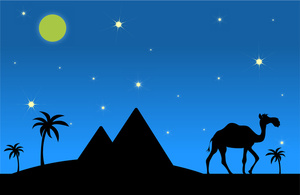 Desert at night clipart.