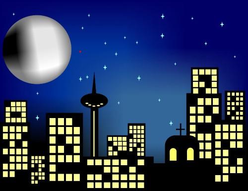 City at Night Clip Art.