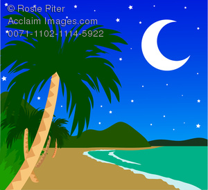 Tropical Island at Night Clipart Image.