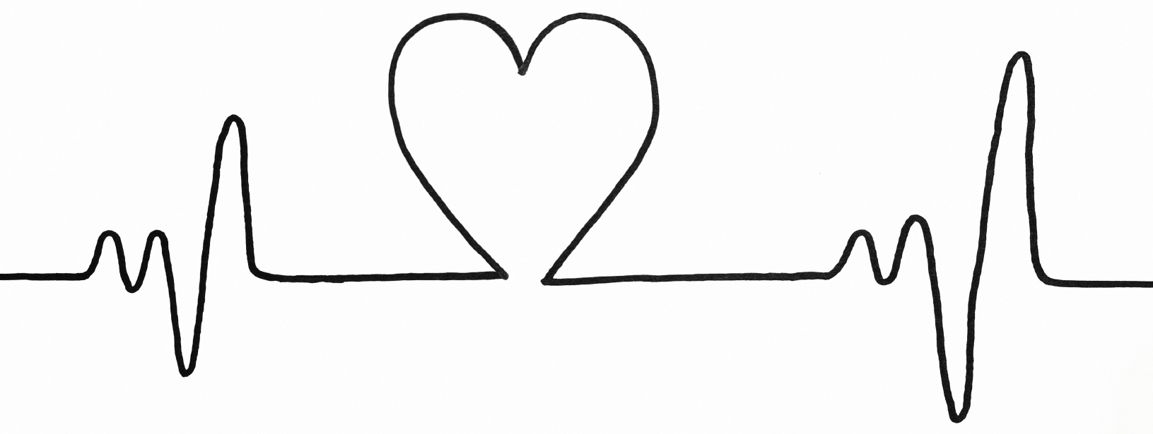 Heart rate clipart black and white.
