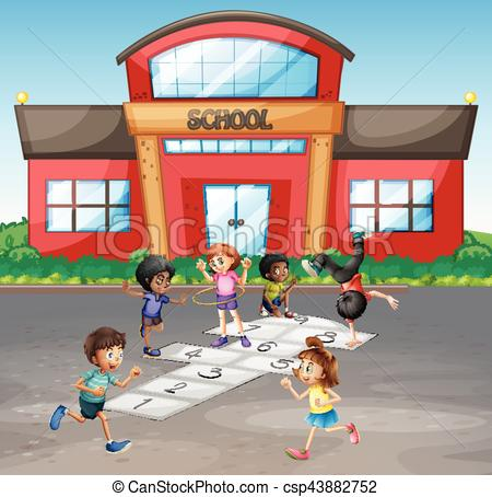 Students playing hopscotch at school.