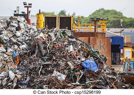 Stock Photographs of Pile of scrap metal in junk yard csp15298199.