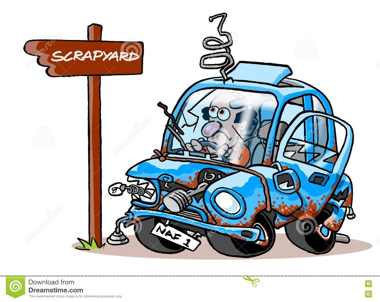 Cartoon Junk Car Stock Illustration.