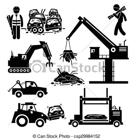 Clipart Vector of Junkyard Scrap Metal Steel Car Junk.