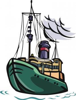 Ship at sea clipart free.