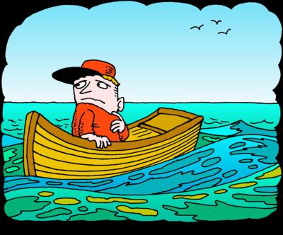 The Boat at Sea Clip Art.
