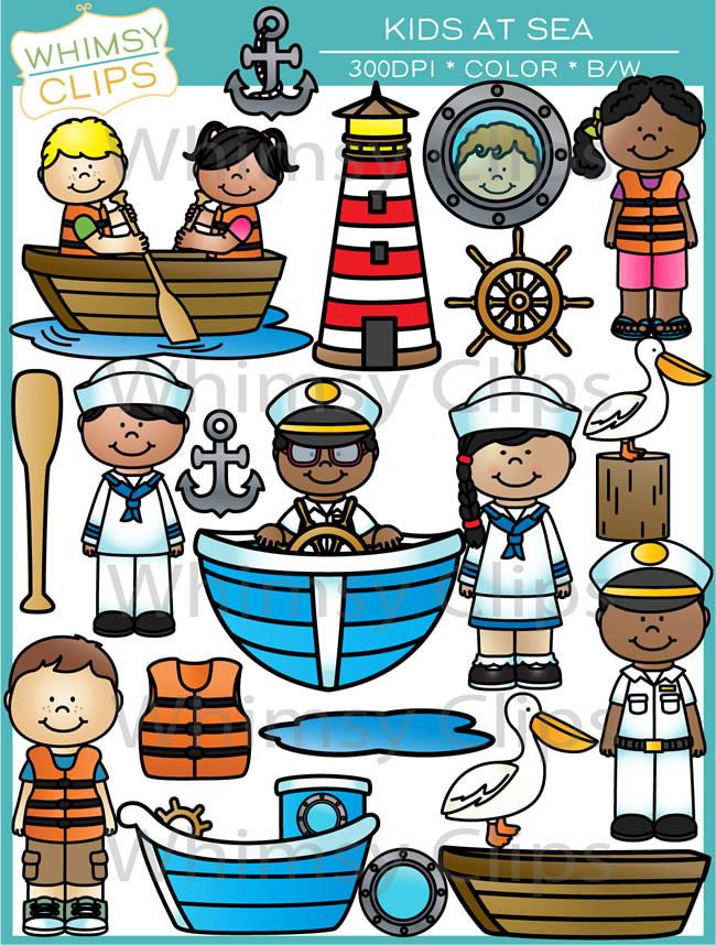Kids At Sea Clip Art , Images & Illustrations.