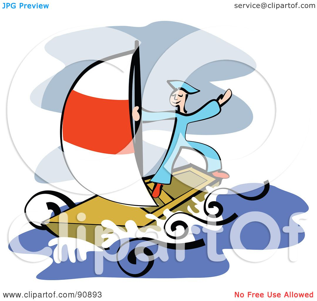 Boat at Sea Clip Art.