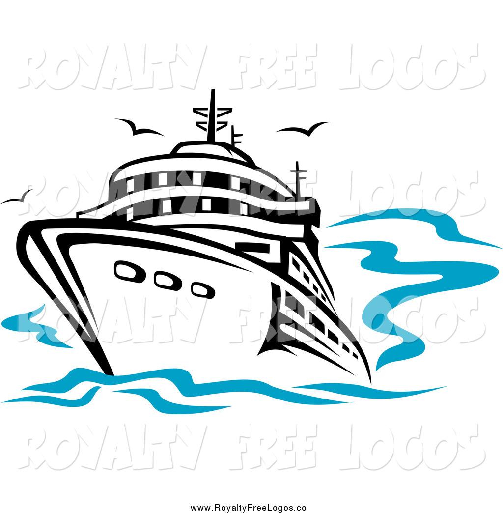 Ship on sea clipart.