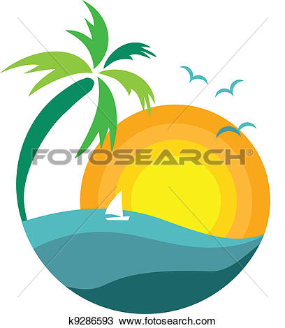 Drawing of Silhouette of palm trees at sunset u11172593.