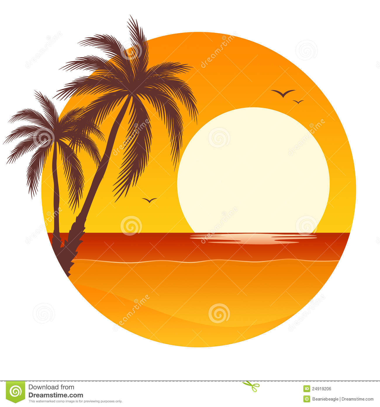 Coconut Tree Sunset Clipart.