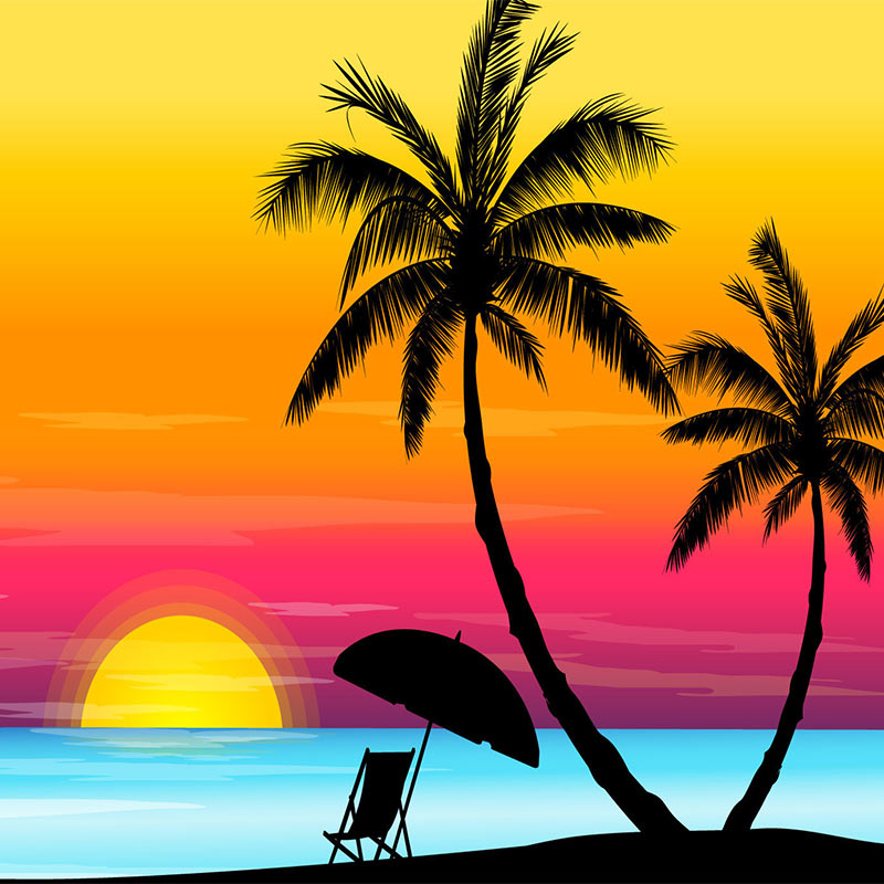 Beach sunset clipart.