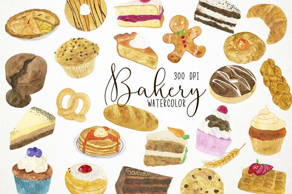 Watercolor Bakery Clipart, Bakery Clip Art, Pastries Clipart.