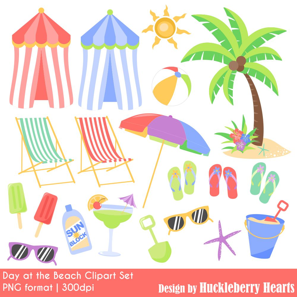 Day at the Beach Clipart Set.