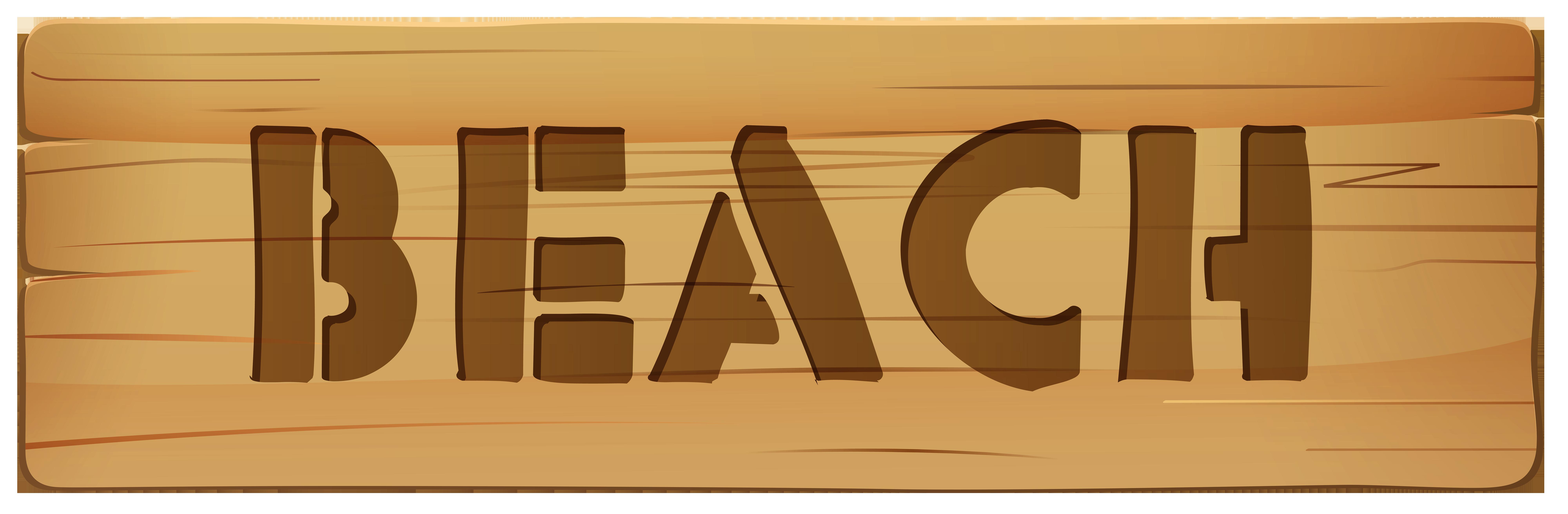 Wooden Sign Beach PNG Clip Art.