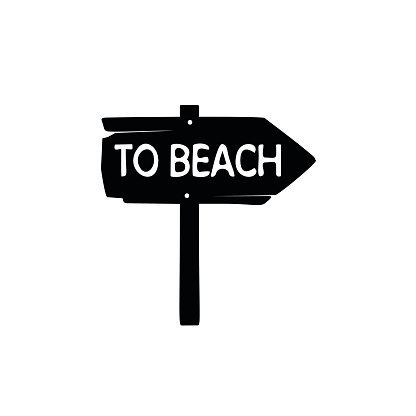 To beach sign simple icon Clipart Image.