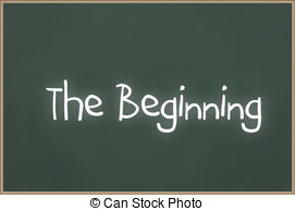 Clip Art of Chalkboard with text The Beginning.