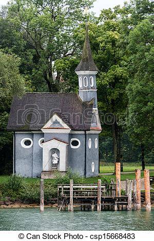 Pictures of Chapel at lake Chiemsee in Bavaria, Germany.