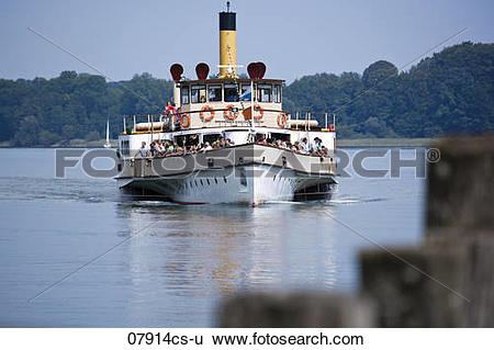 Stock Images of Germany, Bavaria, A steam boat on Lake Chiemsee.