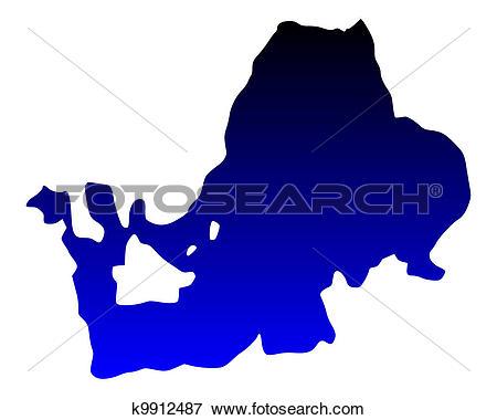 Clip Art of Map of Lake Chiemsee k9912487.