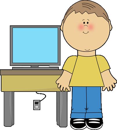 Boy Classroom Computer Technology Expert Clip Art.