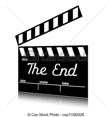 Clip Art of Clapperboard the end clip art..