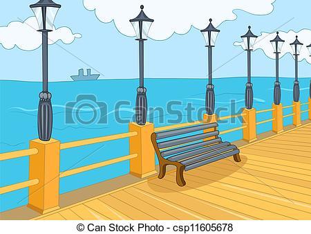 Vectors Illustration of Seafront Harbor. Cartoon Background.
