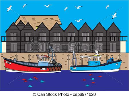 Vector Clipart of harbour scene boats fishing huts fish water.