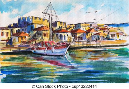 Clipart of Summer landscape with sailing boat in harbor. Picture.