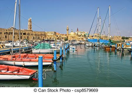 Stock Photographs of Old harbor in Acre, Israel..