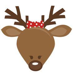 Cute Reindeer Head SVG cutting files for scrapbooking cute cut.