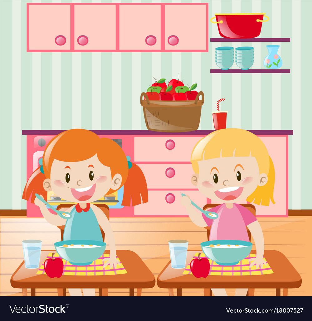 Two kids eating breakfast in kitchen.