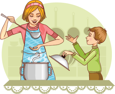 Mother and Son Tests Food in The Kitchen.