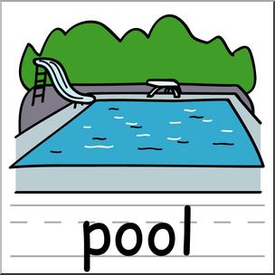 Clip Art: Basic Words: Pool Color Labeled I abcteach.com.