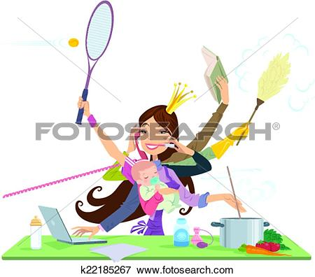 Clip Art of Busy woman doing many things at the same time.
