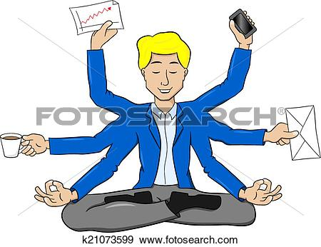 Clip Art of businessman meditating in lotus position and does a.