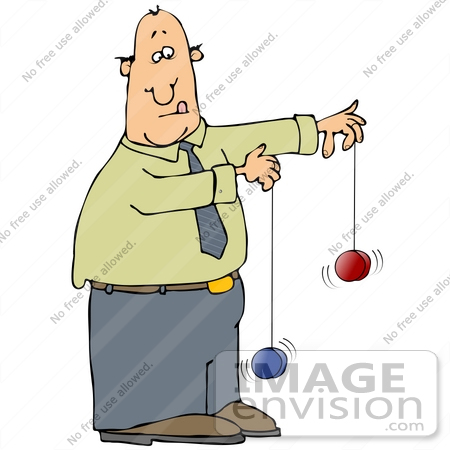 Clip Art Graphic of a Man Trying To Play With Two Yo Yos At The.