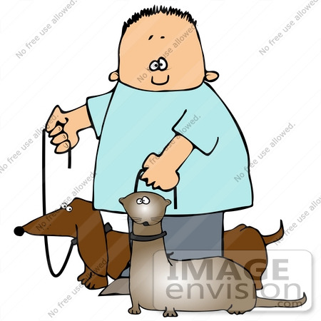 Clip Art Graphic of a Happy Boy Walking His Little Wiener Dog and.