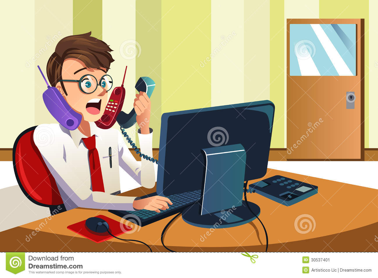 Busy Businessman On The Phone Stock Image.