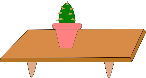 Cactus In Pot On A Table clip art Free vector in Open office.