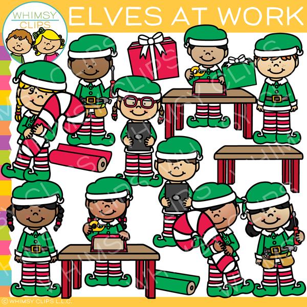 Elves at Work Clip Art.