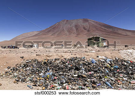 Stock Photo of Border Bolivia Chile, Atacama Desert, Pile of trash.