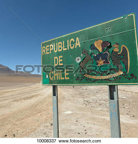 Picture of Sign for the Republic of Chile; San Pedro de Atacama.