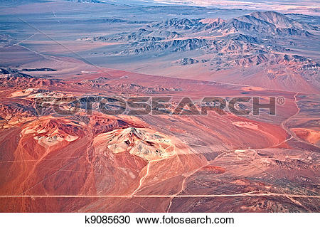 Stock Photography of aerial view of volcanoes, Atacama desert.