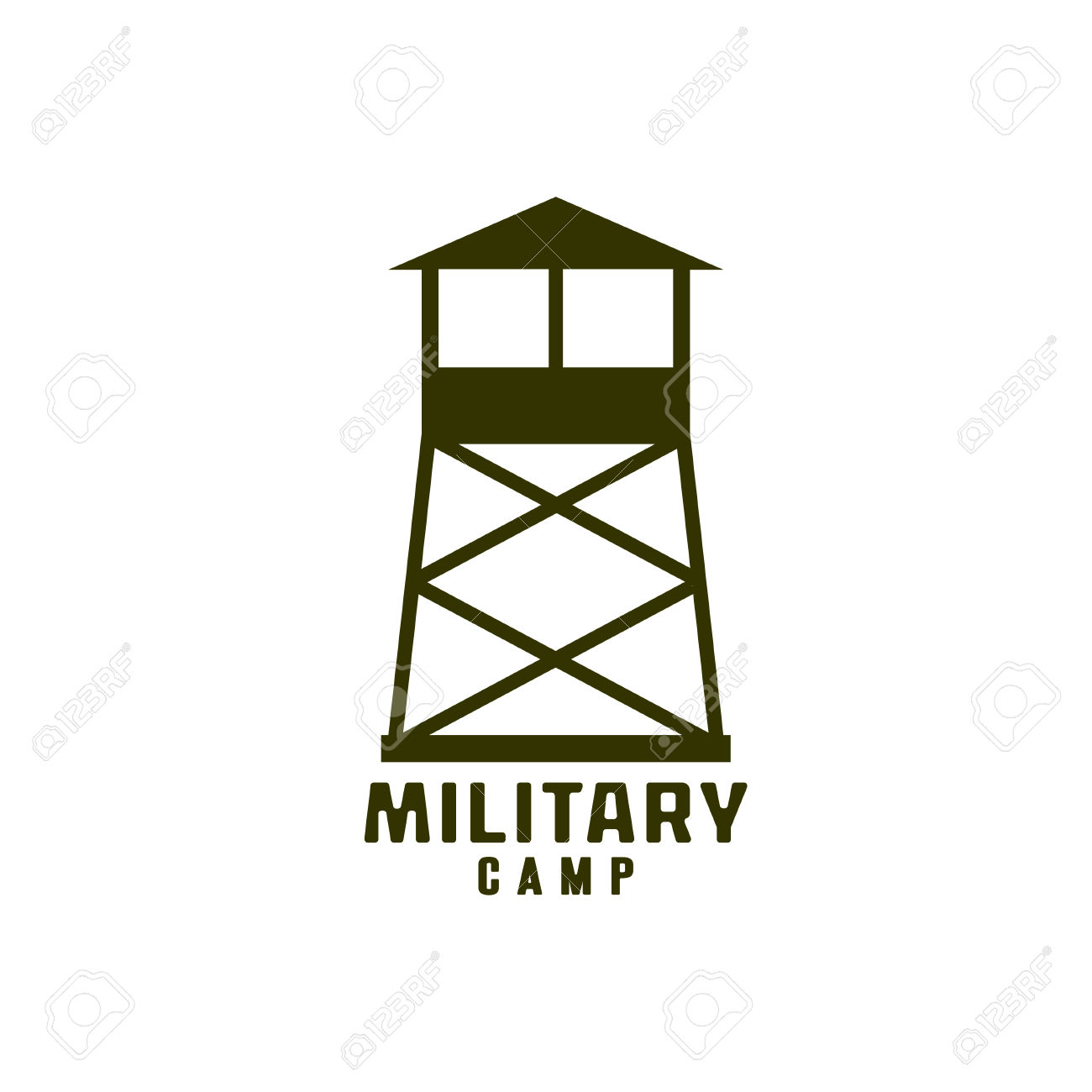 Atalaya Del Icono Del Campamento Militar Ilustraciones Vectoriales.